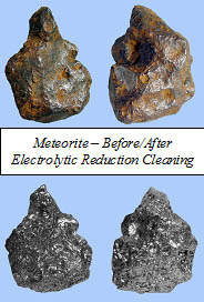 Meteorite Electrolysis - Meteorite Before & After Photo